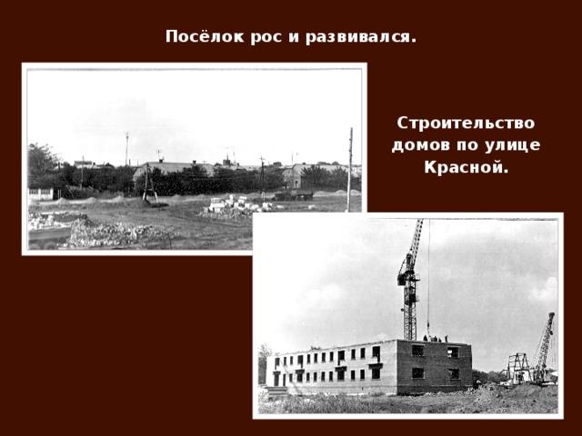 Посёлок рос и развивался. Строительство домов по улице Красной.
