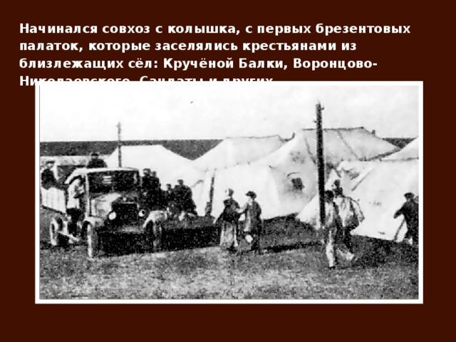 Начинался совхоз с колышка, с первых брезентовых палаток, которые заселялись крестьянами из близлежащих сёл: Кручёной Балки, Воронцово-Николаевского, Сандаты и других.