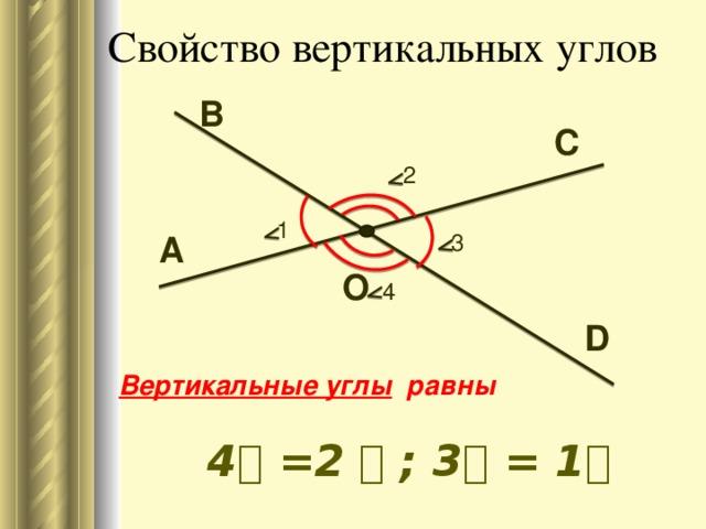 Свойство вертикальных углов В С 2 1 А 3 О 4 D Вертикальные углы  равны  ے 1 = ے 3 ; ے 2 = ے 4