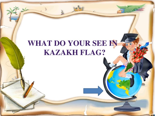 What do your see in  Kazakh flag?