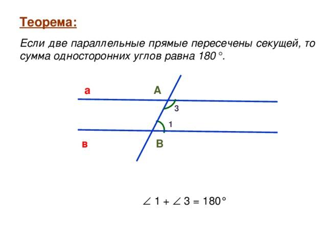 Теорема:  Теорема:  Если две параллельные прямые пересечены секущей, то сумма односторонних углов равна 180°. Если две параллельные прямые пересечены секущей, то сумма односторонних углов равна 180°. а А 3 1 В в   1 +   3 = 180°