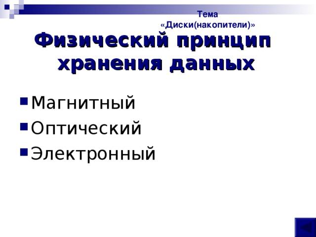 Тема «Диски(накопители)» Физический принцип  хранения данных
