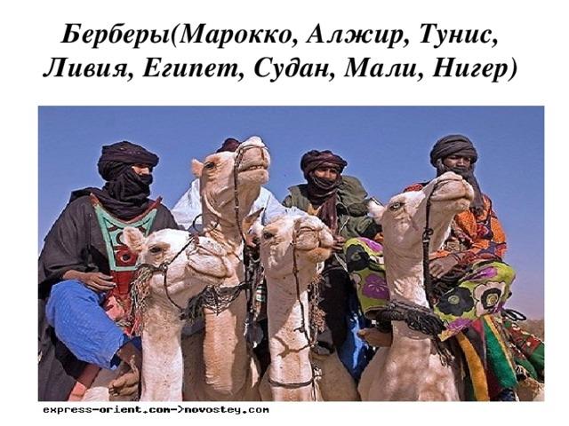 Берберы(Марокко, Алжир, Тунис, Ливия, Египет, Судан, Мали, Нигер)