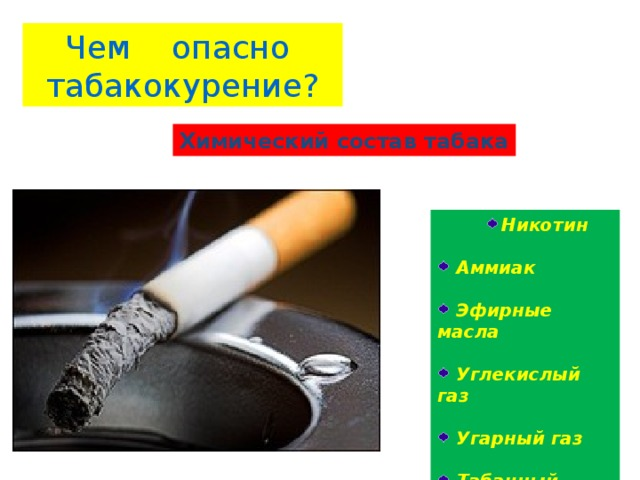 Чем опасно табакокурение? Химический состав табака Никотин Никотин Никотин  Аммиак   Эфирные масла   Углекислый газ   Угарный газ