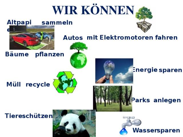 WIR KÖNNEN Altpapier sammeln mit  Elektromotoren  fahren Autos Bäume pflanzen Energie sparen Müll recyclen anlegen Parks schützen Tiere sparen Wasser
