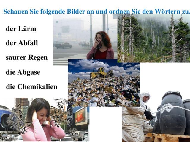 Schauen Sie folgende Bilder an und ordnen Sie den Wörtern zu. der Lärm der Abfall saurer Regen die Abgase die Chemikalien
