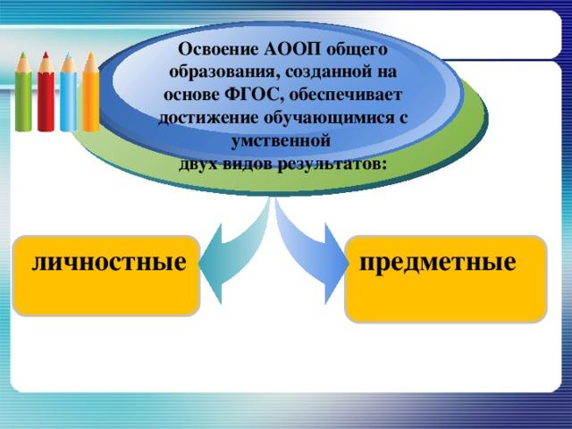 Освоение АООП общего образования, созданной на основе ФГОС, обеспечивает достижение обучающимися с умственной двух видов результатов: личностные предметные