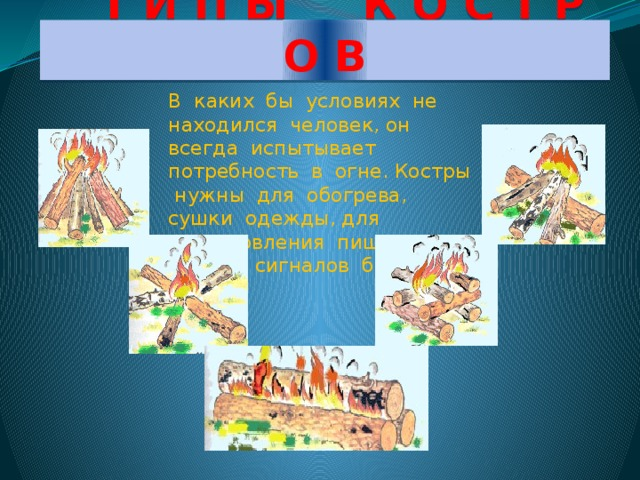 Т И П Ы К О С Т Р О В В каких бы условиях не находился человек, он всегда испытывает потребность в огне. Костры нужны для обогрева, сушки одежды, для приготовления пищи, подачи сигналов бедствия.