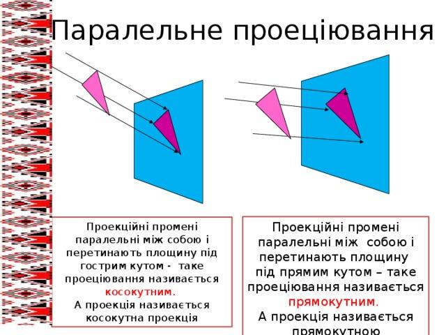 Паралельне проеціювання Проекційні промені паралельні між собою і перетинають площину під прямим кутом – таке проеціювання називається прямокутним. А проекція називається прямокутною Проекційні промені паралельні між собою і перетинають площину під гострим кутом - таке проеціювання називається косокутним. А проекція називається косокутна проекція