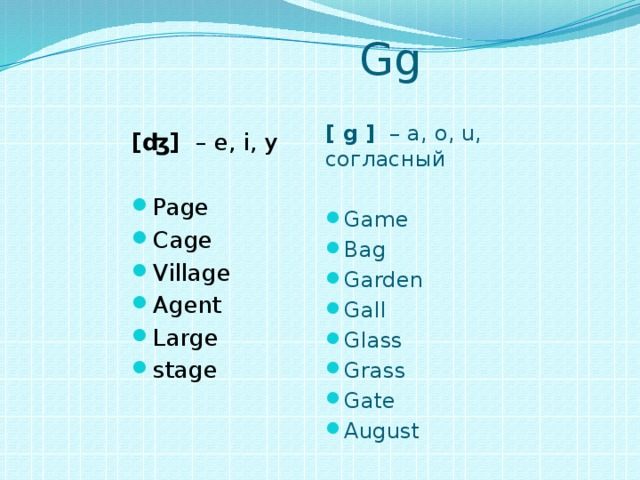 Gg [ g ] – a, o, u, согласный Game Bag Garden Gall Glass Grass Gate August [ʤ]  – e, i, y