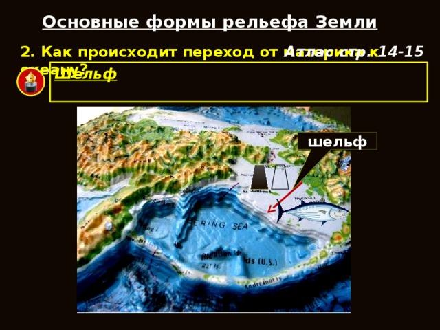 Основные формы рельефа Земли 2. Как происходит переход от материка к океану? Атлас стр. 14-15 Шельф  – выровненная отмель, которая обрамляет континенты. шельф