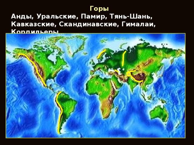 Горы Анды, Уральские, Памир, Тянь-Шань, Кавказские, Скандинавские, Гималаи, Кордильеры