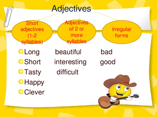 Adjectives  Sho Adjectives of 2 or more syllables Short adjectives (1-2 syllables) Irregular forms