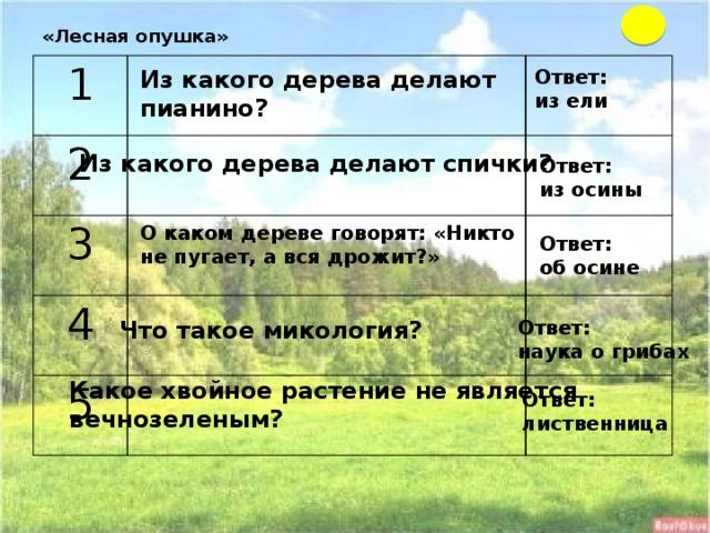 «Лесная опушка»   1  2   3   4    5    Ответ: Из какого дерева делают пианино? из ели Из какого дерева делают спички? Ответ: из осины О каком дереве говорят: «Никто не пугает, а вся дрожит?» Ответ: об осине Что такое микология? Ответ: наука о грибах Какое хвойное растение не является вечнозеленым? Ответ: лиственница