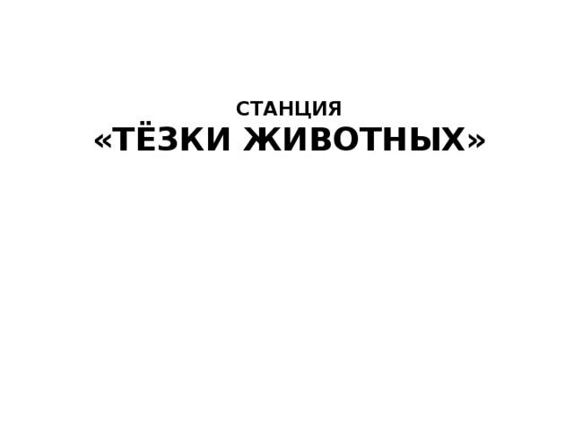 СТАНЦИЯ  «Тёзки животных»
