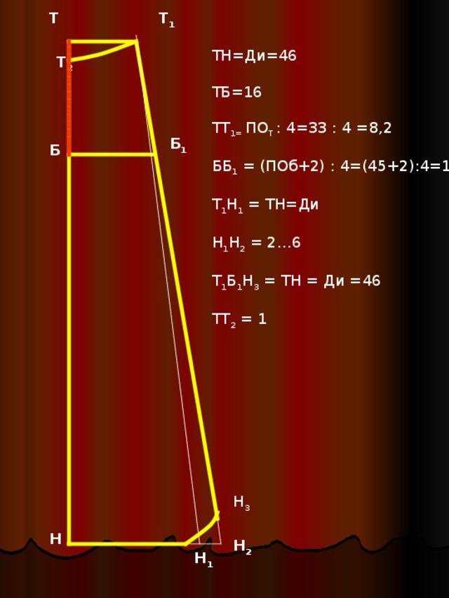 Т 1 Т ТН=Ди=46 ТБ=16 ТТ 1= ПО Т : 4=33 : 4 =8 , 2 ББ 1 = (ПОб+2) : 4=(45+2):4=11 Т 1 Н 1 = ТН=Ди Н 1 Н 2 = 2…6 Т 1 Б 1 Н 3 = ТН = Ди =46 ТТ 2 = 1 Т 2 Б 1 Б Н 3 Н Н 2 Н 1