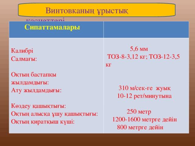 Винтовканың ұрыстық қасиеттері  Сипаттамалары Калибрі Салмағы: Оқтың бастапқы жылдамдығы: Ату жылдамдығы: Көздеу қашықтығы: Оқтың алысқа ұшу қашықтығы: Оқтың қиратқыш күші:  5,6 мм   ТОЗ-8-3,12 кг;  ТОЗ-12-3,5 кг  310 м/сек-ге  жуық  10-12 рет/минутына   250 метр  1200-1600  метрге дейін   800 метрге дейін