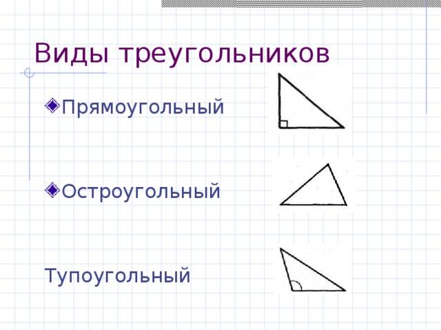 Виды треугольников Прямоугольный Остроугольный Тупо угольный