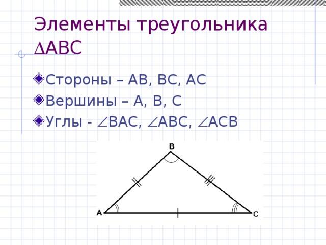 Элементы треугольника   ABC