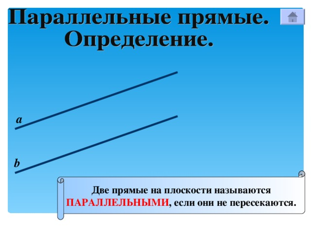 а b Две прямые на плоскости называются ПАРАЛЛЕЛЬНЫМИ , если они не пересекаются.