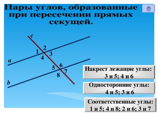 с 2 1 3 4 а 6 5 Накрест лежащие углы: 3 и 5; 4 и 6 7 8 b Односторонние углы:  4 и 5; 3 и 6 Соответственные углы: 1 и 5; 4 и 8; 2 и 6; 3 и 7