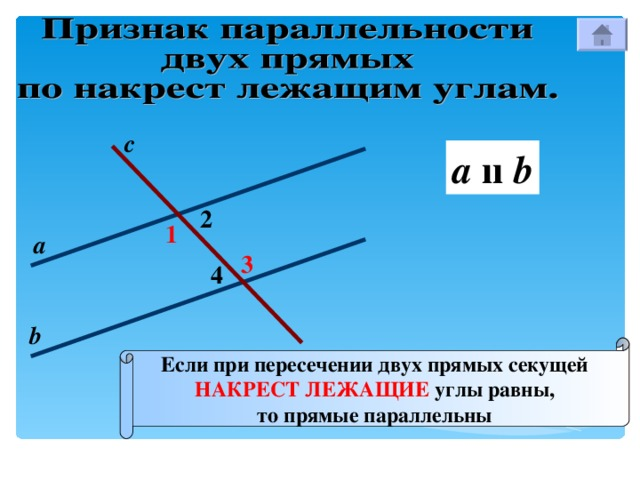 с a  ıı b 2 1 а 3 4 b Если при пересечении двух прямых секущей НАКРЕСТ ЛЕЖАЩИЕ углы равны, то прямые параллельны