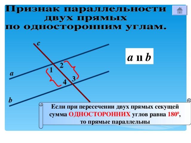с a  ıı b 2 1 а 3 4 b Если при пересечении двух прямых секущей сумма  ОДНОСТОРОННИХ углов равна 180 0 , то прямые параллельны