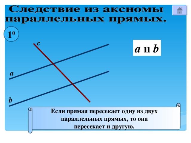 1 0 с a  ıı b а b Если прямая пересекает одну из двух параллельных прямых, то она пересекает и другую.