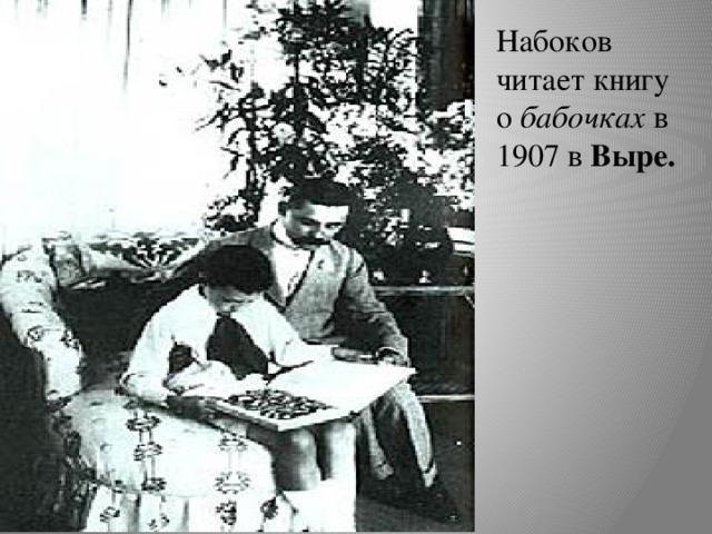 Набоков читает книгу о бабочках в 1907 в Выре.