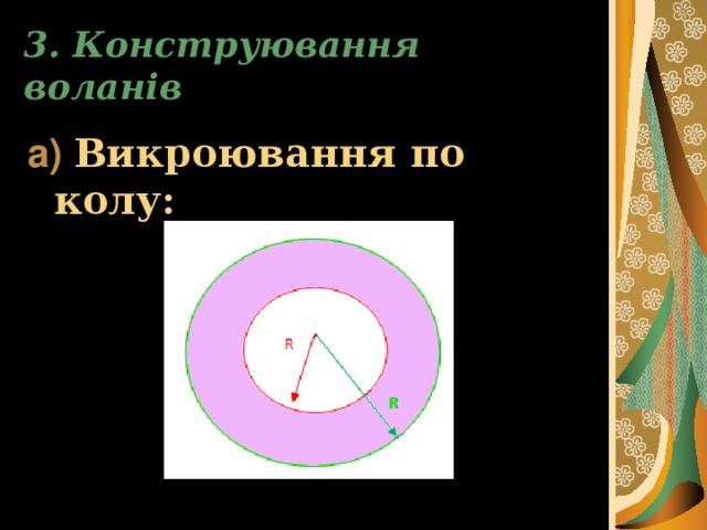 3. Конструювання воланів а)  Викроювання по колу: