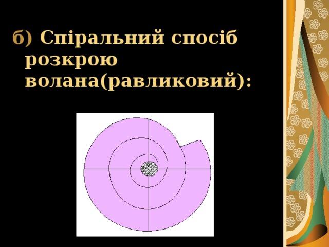 б)  Спіральний спосіб розкрою волана(равликовий):