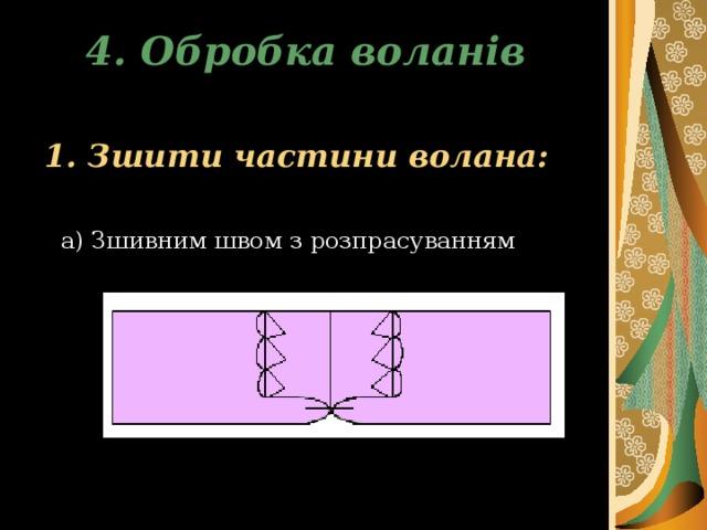 4. Обробка воланів  1. Зшити частини волана:  а) Зшивним швом з розпрасуванням