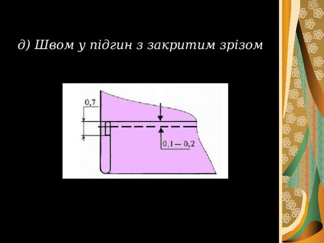 д) Швом у підгин з закритим зрізом