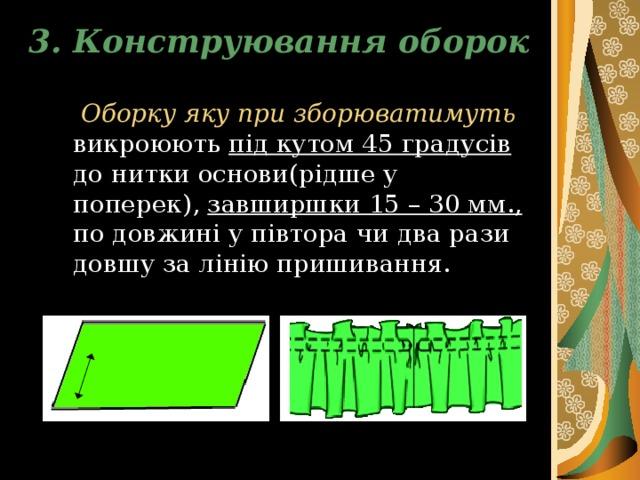 3. Конструювання оборок  Оборку яку при зборюватимуть викроюють під кутом 45 градусів до нитки основи(рідше у поперек), завширшки 15 – 30 мм., по довжині у півтора чи два рази довшу за лінію пришивання.
