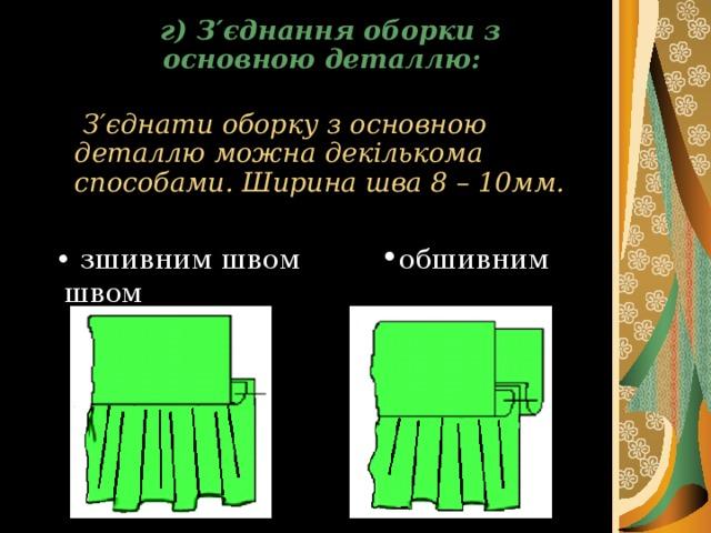 г ) З ′ єднання оборки з основною деталлю:    З ′ єднати оборку з основною деталлю можна декількома способами. Ширина шва 8 – 10мм.   • зшивним швом • обшивним швом