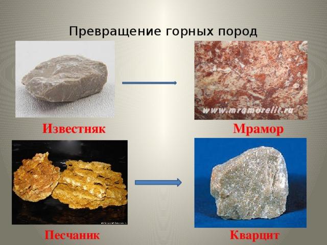 Превращение горных пород  Известняк Мрамор  Песчаник Кварцит