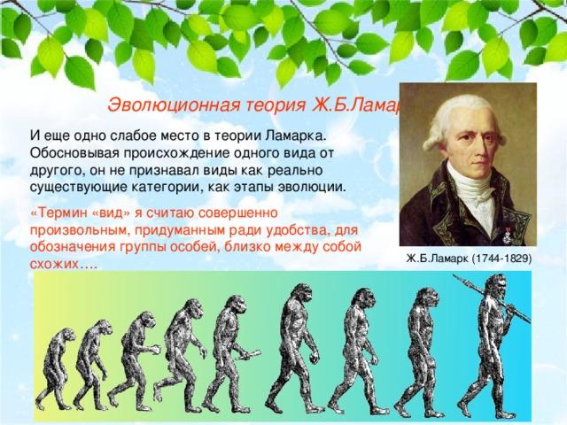 Эволюционная теория Ж.Б.Ламарка И еще одно слабое место в теории Ламарка. Обосновывая происхождение одного вида от другого, он не признавал виды как реально существующие категории, как этапы эволюции. «Термин «вид» я считаю совершенно произвольным, придуманным ради удобства, для обозначения группы особей, близко между собой схожих…. Ж.Б.Ламарк (1744-1829)