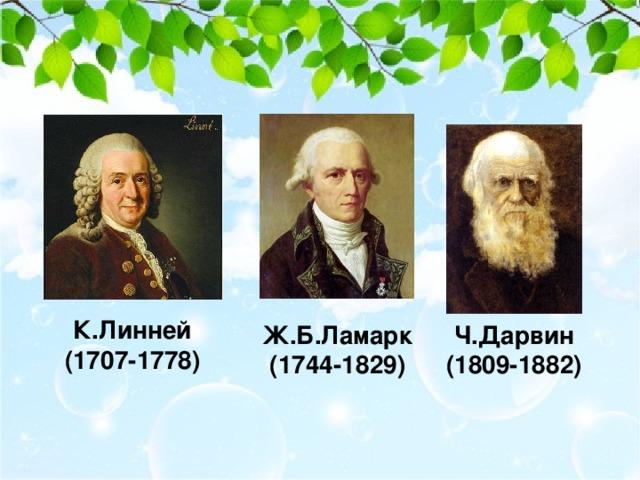 К.Линней (1707-1778) Ж.Б.Ламарк (1744-1829) Ч.Дарвин (1809-1882)