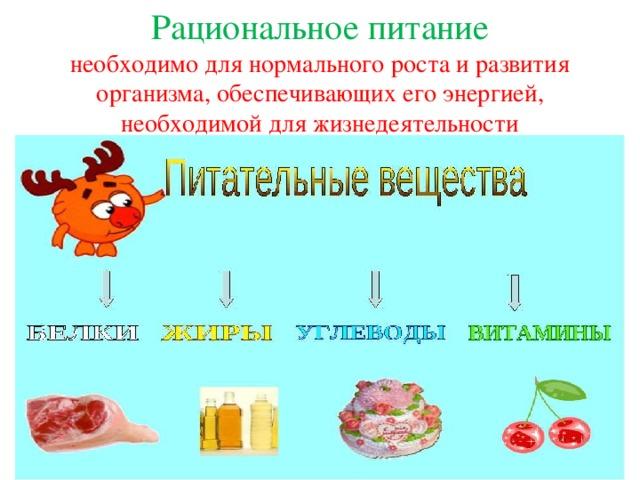Рациональное питание  необходимо для нормального роста и развития организма, обеспечивающих его энергией, необходимой для жизнедеятельности