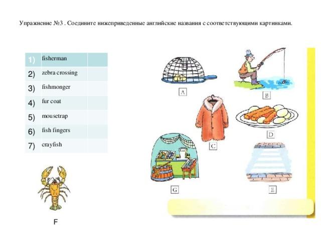 Упражнение №3 . Соедините нижеприведенные английские названия с соответствующими картинками.       1) fisherman 2) zebra crossing 3) fishmonger 4) fur coat 5) mousetrap 6) fish fingers 7) crayfish F