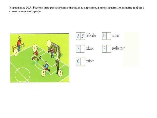 Упражнение № 5  . Рассмотрите расположение игроков на картинке, а затем правильно впишите цифры в соответствующие графы