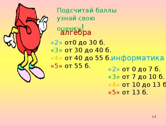 Подсчитай баллы узнай свою оценку ! алгебра «2» от0 до 30 б. «3» от 30 до 40 б. «4» от 40 до 55 б. «5» от 55 б. информатика «2» от 0 до 7 б. «3» от 7 до 10 б. «4» от 10 до 13 б. «5» от 13 б.