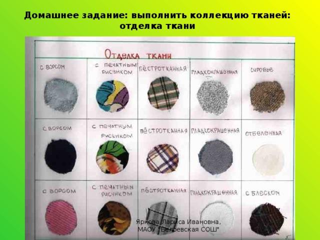 Домашнее задание: выполнить коллекцию тканей: отделка ткани Яркова Лариса Ивановна, МАОУ