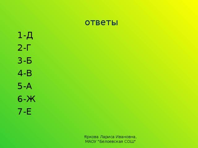 ответы 1-Д 2-Г 3-Б 4-В 5-А 6-Ж 7-Е Яркова Лариса Ивановна, МАОУ