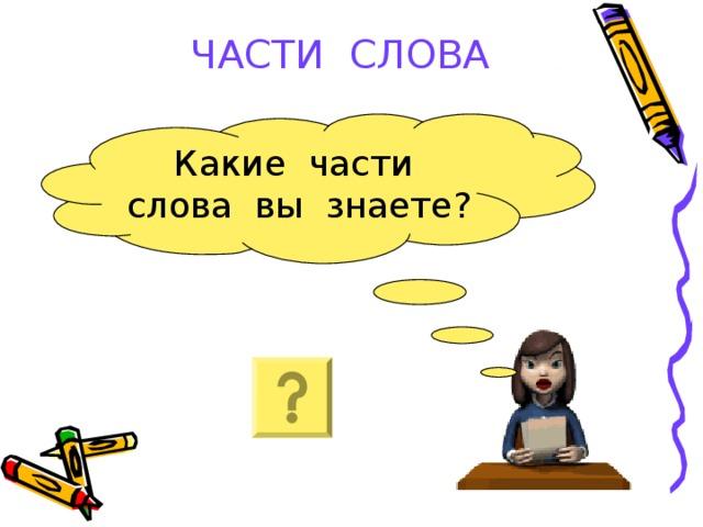 ЧАСТИ СЛОВА Какие части слова вы знаете?