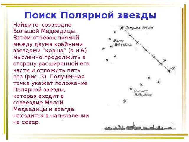 """Поиск Полярной звезды Найдите созвездие Большой Медведицы. Затем отрезок прямой между двумя крайними звездами """"ковша"""" (а и 6) мысленно продолжить в сторону расширенной его части и отложить пять раз (рис. 3). Полученная точка укажет положение Полярной звезды, которая входит в созвездие Малой Медведицы и всегда находится в направлении на север."""