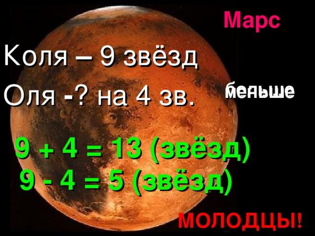 Марс Коля – 9 звёзд Оля - ? на 4 зв. больше меньше 9 + 4 = 13 (звёзд) 9 - 4 = 5 (звёзд) МОЛОДЦЫ!
