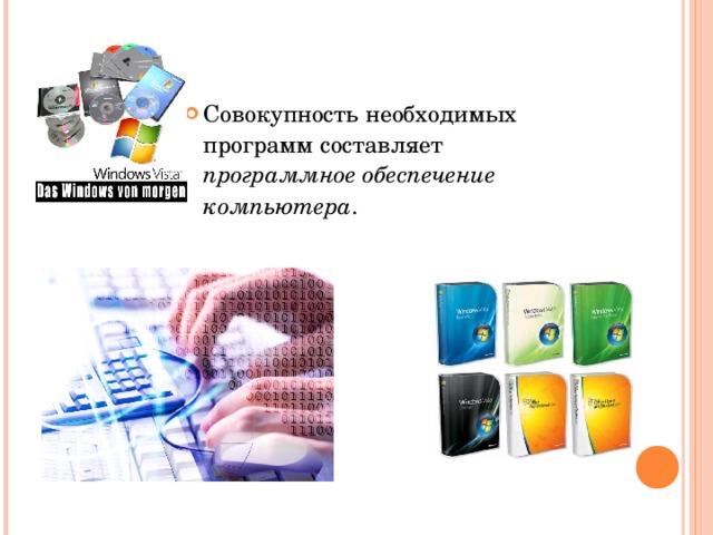 Совокупность необходимых программ составляет программное обеспечение компьютера .