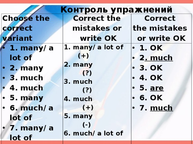 Контроль упражнений Choose the correct variant Correct the mistakes or  write OK 1. many/ a lot of 2. many 3. much 4. much 5. many 6. much/ a lot of  7. many/ a lot of  Correct the mistakes or write OK 1. many/ a lot of (+) 2. many (?) 3. much (?) 4. much (+) 5. many (-) 6. much/ a lot of ( по ситуации ) 7. many/ a lot of  ( по ситуации )