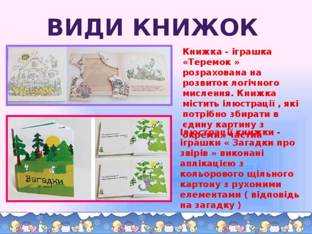 Види книжок Книжка - іграшка «Теремок » розрахована на розвиток логічного мислення. Книжка містить ілюстрації , які потрібно збирати в єдину картину з окремих частин   Ілюстрації книжки - іграшки « Загадки про звірів » виконані аплікацією з кольорового щільного картону з рухомими елементами ( відповідь на загадку )